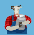 funny cow holding a can fresh milk dairy farm vector image vector image