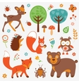 Funny forest animals collection vector image vector image