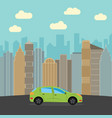 green car in the city vector image