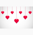hanging red valentines hearts with white vector image