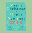 happy new year 2018 floral font vector image