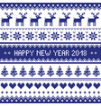 happy new year 2018 - scandinavian cross stitch pa vector image vector image