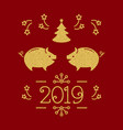 happy new year card - 2019 year pig vector image