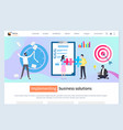 implementing business solution website with text vector image vector image