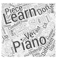 learning to play the piano Word Cloud Concept vector image vector image