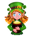 leprechaun with a pot of gold and clover vector image