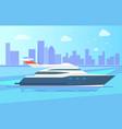 luxurious modern yacht stand near long coastline vector image