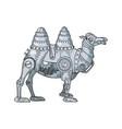 mechanical camel animal color sketch vector image vector image