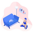 meditating girl in her room with a sleeping cat vector image vector image