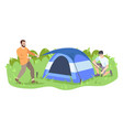 men setting up camp flat friends campers father vector image