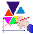mens hand draws a graph of business development vector image