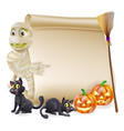 mummy scroll halloween banner vector image