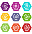 perpetuum mobile icons set 9 vector image vector image