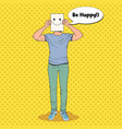 pop art man with smiley emoticon on paper sheet vector image vector image