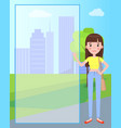 pretty brunette woman on background of skyscrapers vector image vector image