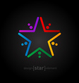 rainbow star on black background abstract design vector image vector image