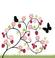 raspberries flowers and butterflies vector image