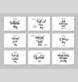 set of hand lettering posters about february 9 vector image