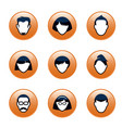 set orange buttons and people icons for web vector image