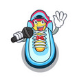 singing cartoon sneaker with rubber toe vector image