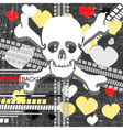 skull with heart vector image vector image
