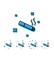 smoking area line icon cigarette sign vector image