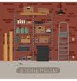 Storeroom interior with brickwall vector image vector image