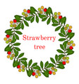 strawberry tree wreath vector image vector image