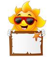 sun characters cartoon with summer billboard vector image
