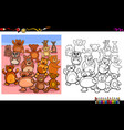 teddy bears characters group coloring book vector image vector image