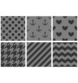 tile pattern set with chevron zig zag polka dots vector image