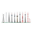 tower global skyline towered antenna vector image