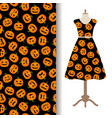 womens dress fabric pattern with pumpkin vector image vector image