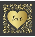 Floral heart with nature brunch and leaf vector image