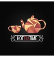 tea cup poly design background vector image