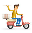 pizza 3d realistic delivery courier motorcycle vector image