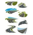 Roads and highway icons set vector image