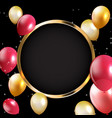 abstract card with golden frame and balloons vector image
