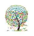 art tree with leaf spiral ornament vector image