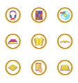 audiobook icons set cartoon style vector image
