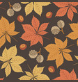 autumn seamless pattern with horse chestnut vector image