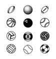 black sport balls set silhouettes vector image