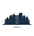 boston skyline monochrome silhouette vector image vector image