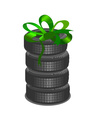 Brand new tires on white background vector image vector image