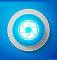camera shutter icon isolated on blue background vector image