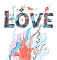 card with the word love vector image