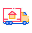 Cargo truck delivery to house sign icon