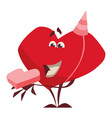 character heart joyful with a gift came on the bir vector image vector image