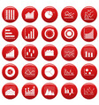 chart diagram icon set vetor red vector image