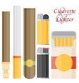 cigarette and lighter set vector image vector image
